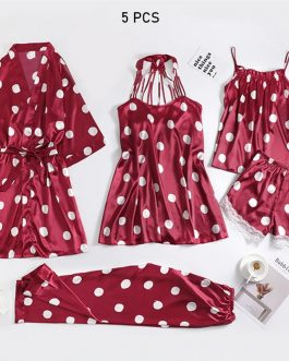 Sexy Polka Dot Nightwear 5 PCS Set