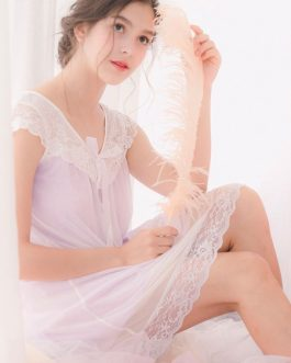 Sexy Sleepwear Night Gown Lace V Neck Short Sleeve Bows Tulle Nightwear