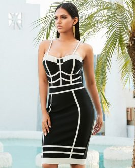 Sexy Sleeveless Bandage Spaghetti Strap Striped Bodycon Party Dress