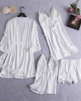 Sexy Soft Silk Sleepwear 4 Pieces Set