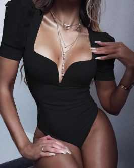 Sexy Solid Vintage Party Bodysuits