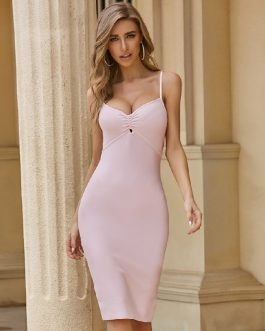 Sexy Spaghetti Strap Hollow Out Bodycon Dress