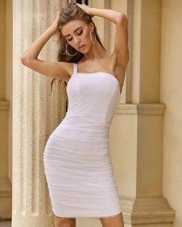 Sexy Spaghetti Strap White One Shoulder Bodycon Dress