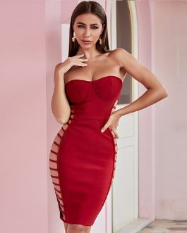Sexy Strapless Hollow Out Bodycon Dress