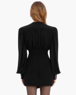 Sexy V Neck Long Sleeve Button Draped Mini Club Dresses