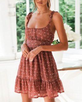 Sexy Spaghetti Strap Floral Print Mini Dress