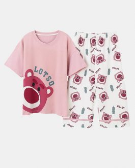 Short Sleeve O-Neck Cotton Bears Printed Lungwear