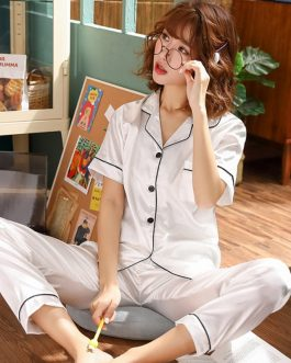 Short Sleeve Silk Satin Sleepwear 2 Pieces Set