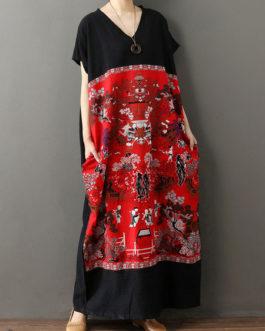 Short Sleeves Geometric V-Neck Layered Cotton Long Maxi Dress