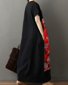 Short Sleeves Geometric V-Neck Layered Cotton Long Maxi Dress