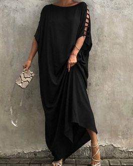 Short Sleeve Jewel Neck Polyester Long Maxi Dress