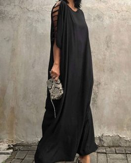 Short Sleeve Jewel Neck Polyester Long Maxi Dress