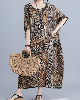 Short Sleeves Leopard Print Jewel Neck Layered Cotton Long Maxi Dress