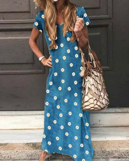 Short Sleeves Polka Dot V-Neck Polyester Floor Beach Length Maxi Dress