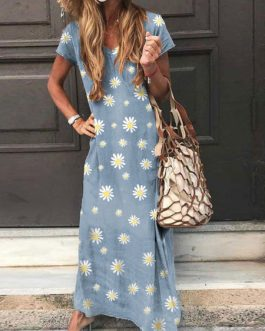 Short Sleeves Polka Dot V-Neck Polyester Long Maxi Dress