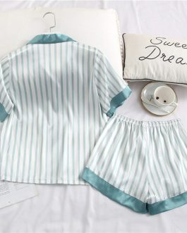 Short Sleeves Stripe Sleepwear 2 Pieces Set