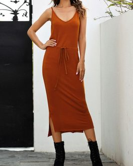Sleeveless Deep V-Neck Lace Up Cotton Long Maxi Dress