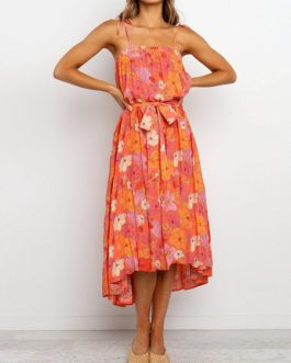 Sleeveless High Low Floral Maxi Dresses