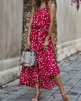 Sleeveless Polka Dot Long Maxi Dress
