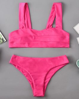 Solid Color Two Piece Swimsuit