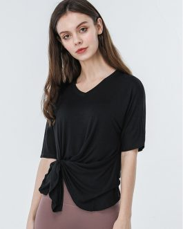Solid Irregular Hem V Neck Sport T Shirt