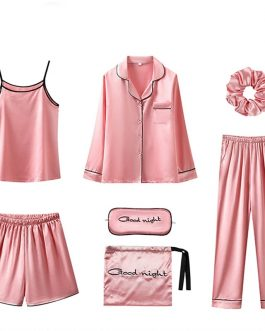 Solid Soft Satin Nightwear 7 Piece Set