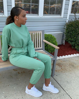 Sports Cropped Suit Sweatshirt And Sweatpants Jogging