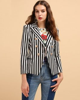 Striped Printed Button Casual Career Blazer