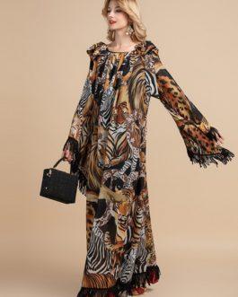 Tassels Sleeve Animal Leopard Print Vintage Party Long Dress