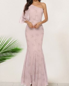 Three-fourth Length Sleeves Floral Print One-Shoulder Pleated Layered Polyester Floor Length Maxi Dress