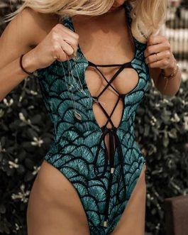 Tie Front Crisscross Open Front Printed One Piece Swimsuit