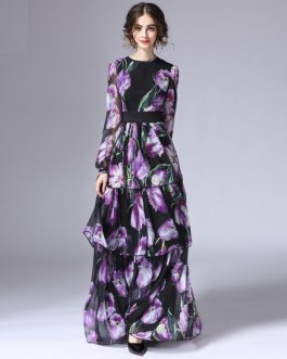 Tulip Floral Print Long Sleeve Vintage Maxi Dress