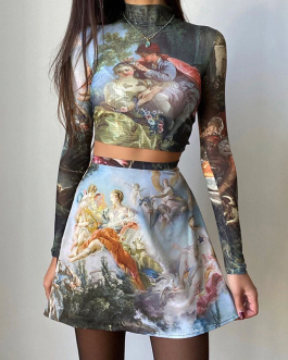 Vintage Fairy Print Dress Two Pieces Set