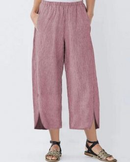 Wide Leg Striped Elastic Waist Pockets Trousers Pants