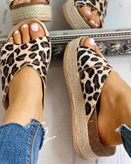 Wide Strap Wedge Sandals – Leopard Print