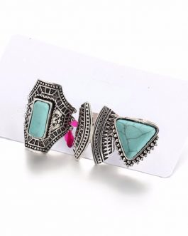 3pcs/Set Boho Vintage Punk Stone Midi Finger Rings