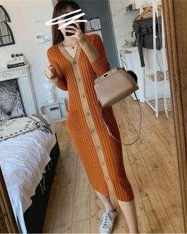 Basic V-Neck Slim Fit Knitted Long Midi Sweater Dress