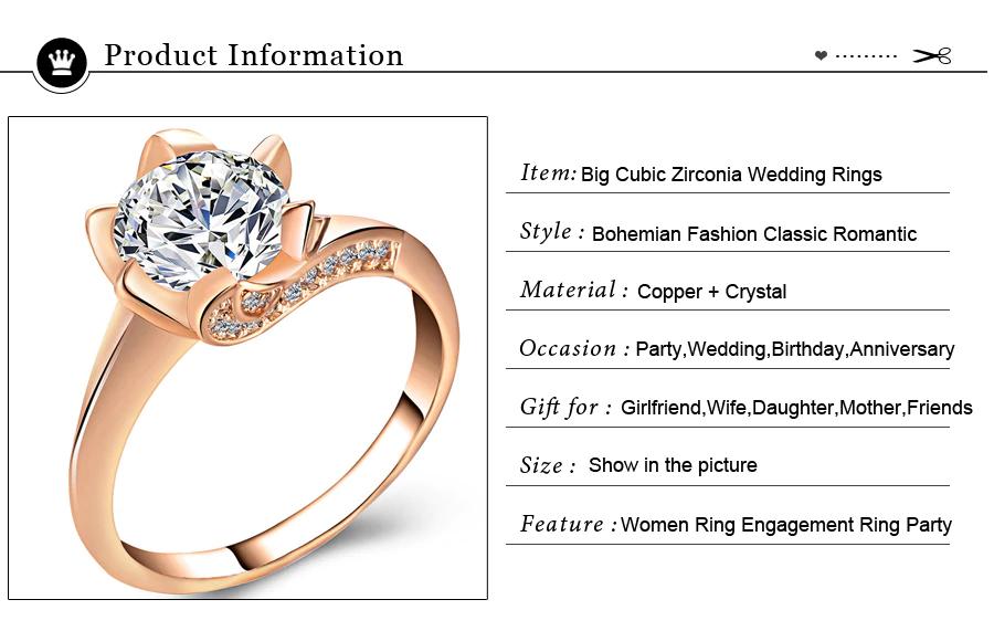 Big Cubic Zirconia Wedding Engagement Rings3