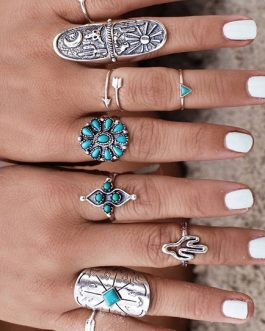 Boho Alloy Vintage Rings In 9 Piece Set