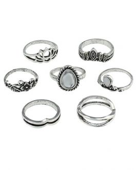 Boho Knuckle Embossed Hollow Out Gems Jewled Vintage Rings Set In 7 Pieces