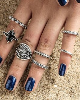 Boho Knuckle Gems Jeweled Hollow Out Vintage Statement Ring Set