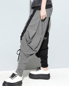 Casual Drop-Crotch Patchwork Harem Pants