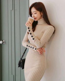 Casual Long Stretch Elastic Skinny Sweater Dress