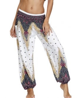 Casual Polyester Raised Waist Printed Loose Leg Pants
