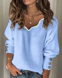 Casual Pullover V Neck Long Sleeves Sweaters