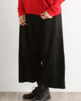 Casual Pure Color Elastic Waist Cotton Pants