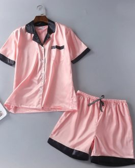Casual Satin Faux Silk Shorts Nightwear Set