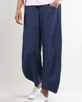 Casual Solid Color Cotton Trouser Pants