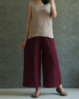 Casual Solid Cotton Linen Pant