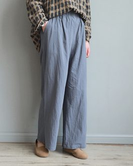 Casual Solid Cotton Wide Leg Pant